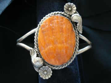 Orange Spinny oyster shell and silver