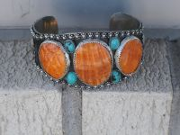 Orange spinny oyster shell, & turquoise